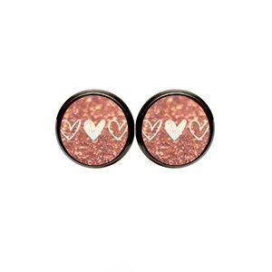 Rose Gold Glitter Hearts Earrings